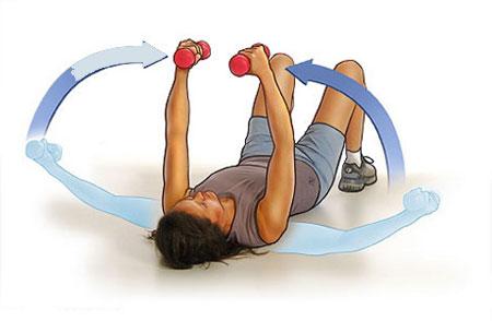 Накачать грудные мышцы девушке с гантелями