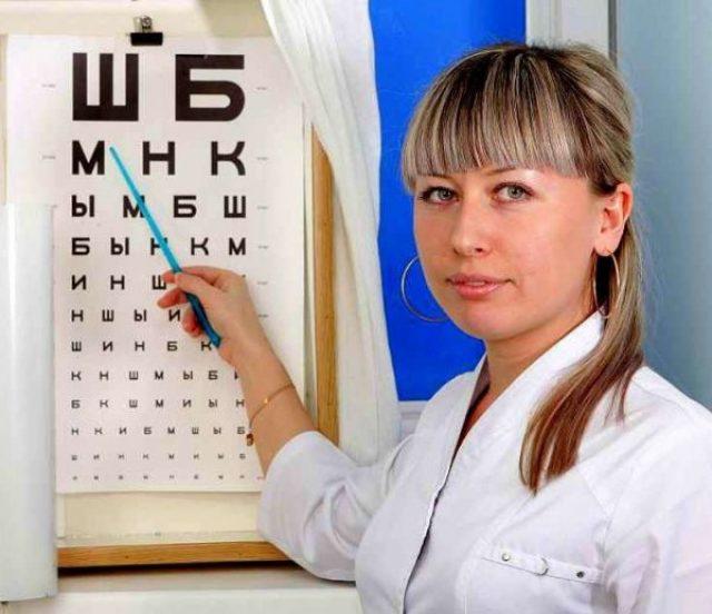 Окулист указывает на таблицу проверки зрения