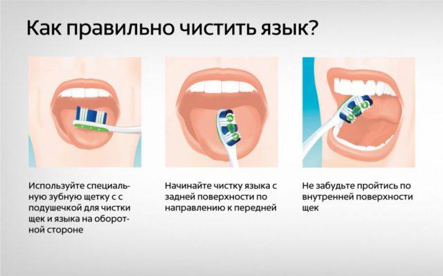 Как правильно чистить язык: схема