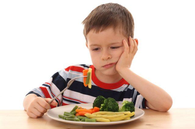 Ребенок сидит возле тарелки