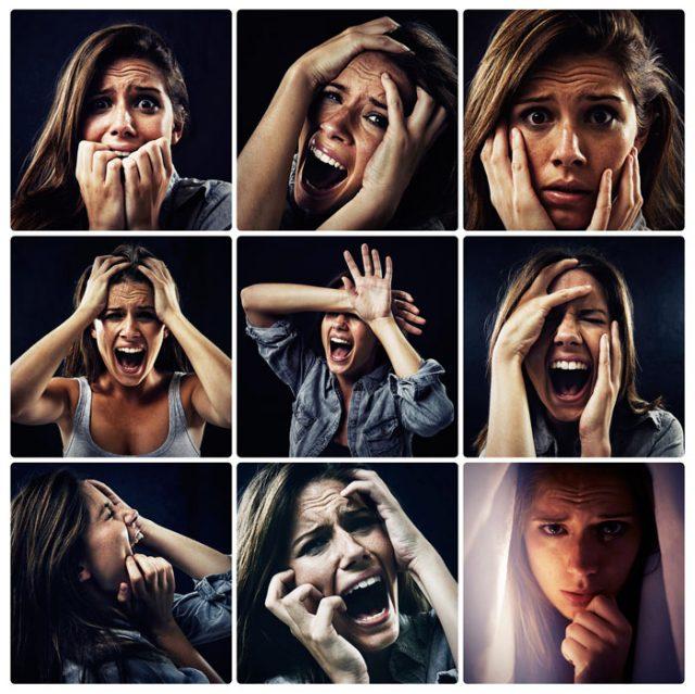 Женщина кричит, боится, страдает