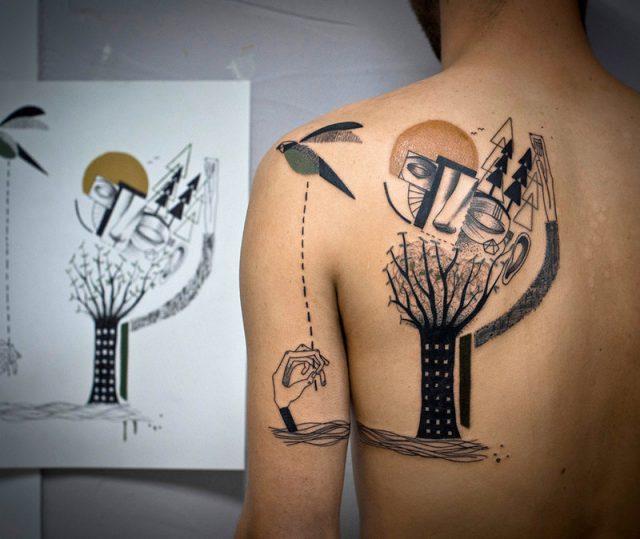 Рисунок, перенесённый с эскиза на кожу