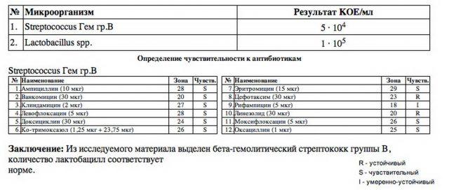 Пример бланка с результатами анализа мочи на бакпосев
