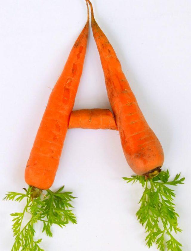 Морковь в виде буквы А