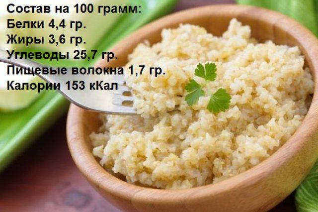 Каша пшеничная рассыпчатая на воде без добавления масла и сахара из полтавской крупы
