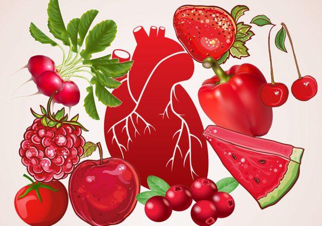 Красные и оранжевые ягоды, фрукты и овощи