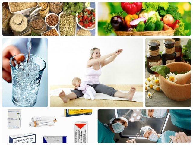 Коллаж: крупы; овощи и фрукты; вода; женщина, делающая зарядку; ромашка; лекарственные средства; хирурги, делающие операцию
