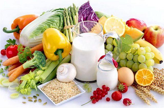 Овощи, фрукты, цельнозерновые и молочные продукты