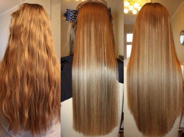 3 фото длинных волос: до, во время и после кератинового выпрямления