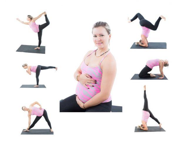 беременная делает упражнения