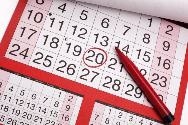 Настольный календарь с обведённой датой