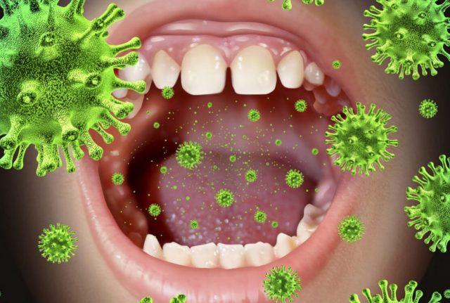 Микробы проникают в организм воздушно-капельным путём