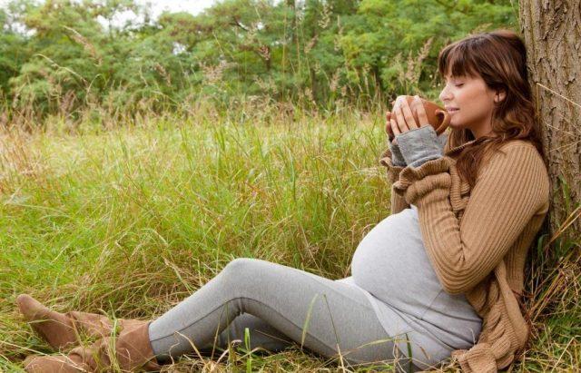 Беременная женщина сидит под деревом и подносит кружку ко рту