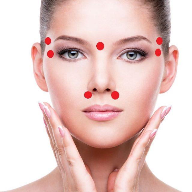 Лицо женщины с указанием акупунктурных точек при насморке