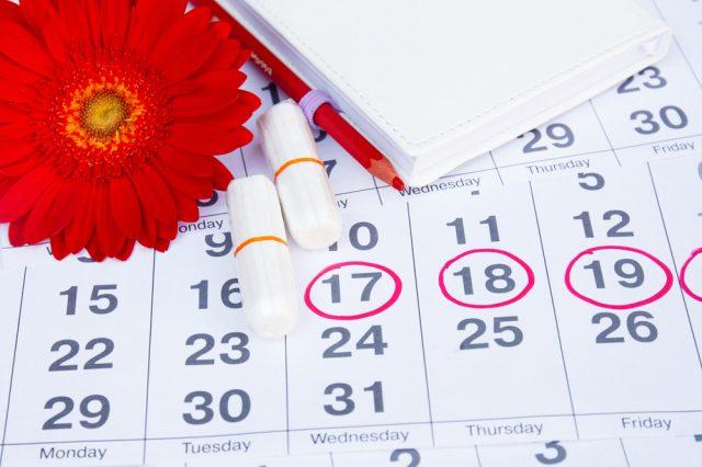 Календарь с обведёнными датами и тампоны